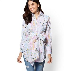 NY&C Paint Splattered Tie Front Tunic Shirt